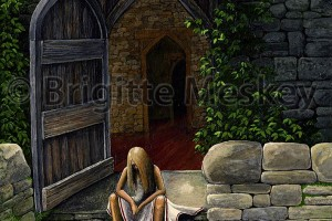 Girl on steps by Brigitte Meskey